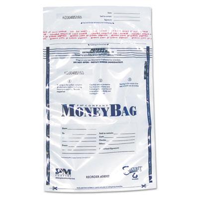 Tamper-Evident Deposit Bags, 9 x 12, Plastic, Clear, 100 per Pack