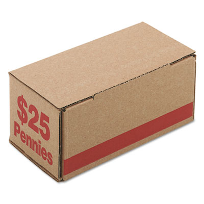Corrugated Cardboard Coin Storage w/Denomination Printed On Side, Red