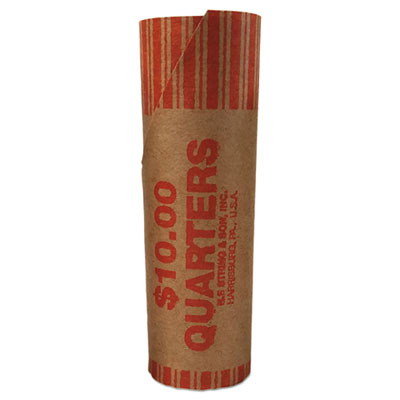 Preformed Tubular Coin Wrappers, Quarters, $10, 1000 Wrappers/Carton