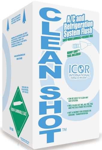 ICOR INTERNATIONAL CLEANSHOT� A/C AND REFRIGERATION SYSTEM FLUSH WITH HANDY SHOT TOOL, 5 LB. CYLINDER