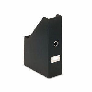"Heavy-Duty Fiberboard Magazine File with PVC Laminate, 4"" x 9 1/4"" x 14"", Black"