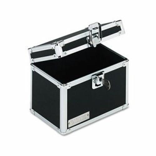 Vaultz Locking Index Card File with Flip Top Holds 450 4 x 6 Cards, Black