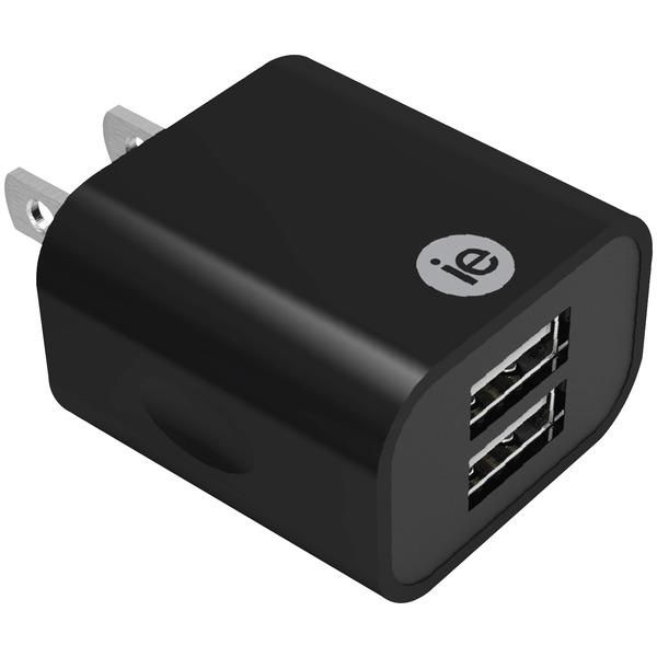2.4A 2 USB WALL CHRGR BLK