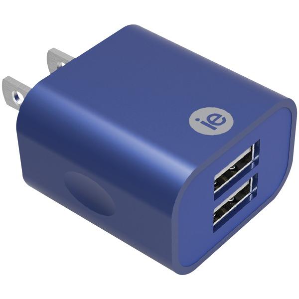 2.4A 2 USB WALL CHRGR BLU
