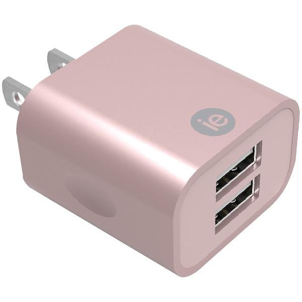 2.4A 2 USB WALL CHRGR PNK
