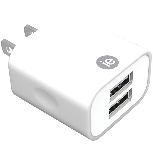 2.4A 2 USB WALL CHRGR WHT