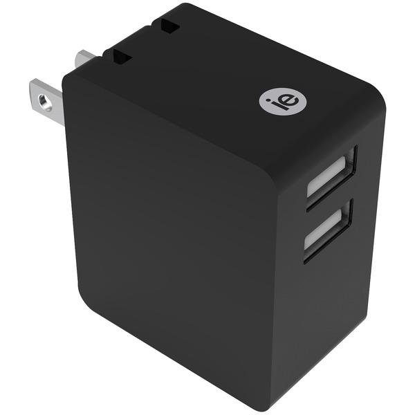3.4A 2 USB WALL CHRGR BLK
