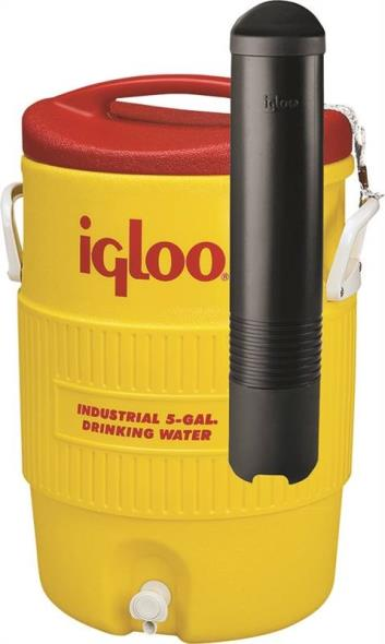 Igloo 11863 Industrial Water Cooler With Cup Dispenser, 5 gal, Plastic, Yellow Body/Red Lid