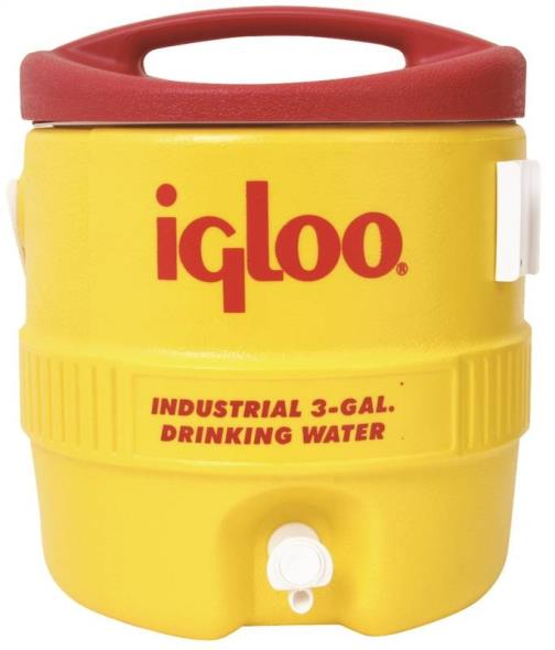 Igloo 400 Commercial Heavy Duty Water Cooler, 3 gal, Polyethylene, Safety Yellow Body/Red Lid