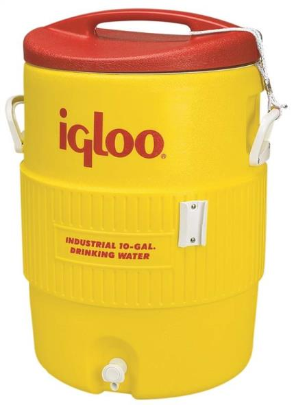 Igloo 400 Commercial Heavy Duty Water Cooler, 10 gal, Polyethylene, Safety Yellow Body/Red Lid