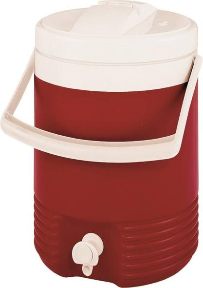 Legend 2214 Beverage Jug With Carry Handle, 2 gal, Plastic, Diablo Red Body/White Lid