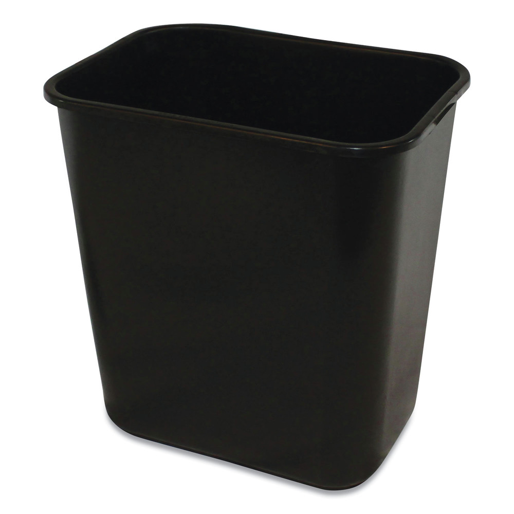 Soft-Sided Wastebasket, Rectangular, Polyethylene, 28 qt, Black