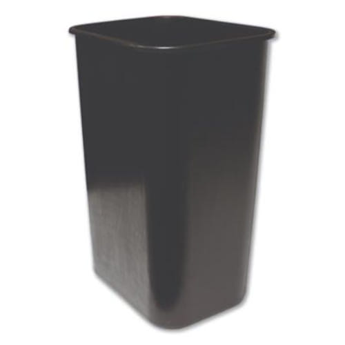 Soft-Sided Wastebasket, Rectangular, Polyethylene, 41 qt, Black