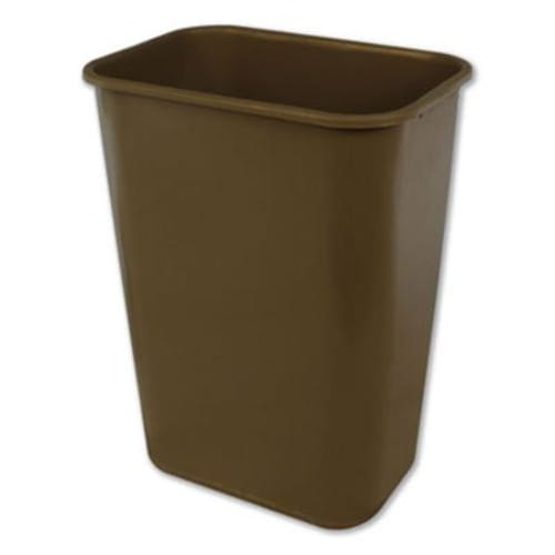 Soft-Sided Wastebasket, Rectangular, Polyethylene, 41 qt, Beige