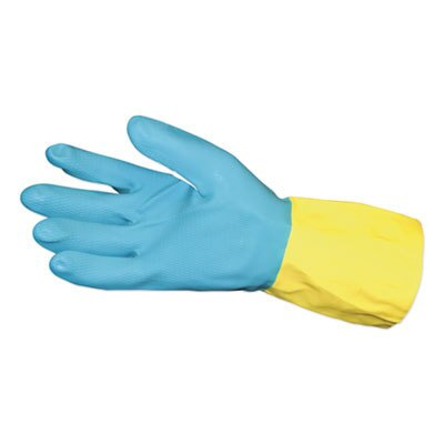 Flocked Lined Neoprene Over Latex Gloves, Powder-Free, Blue/Yellow, Large, Dozen