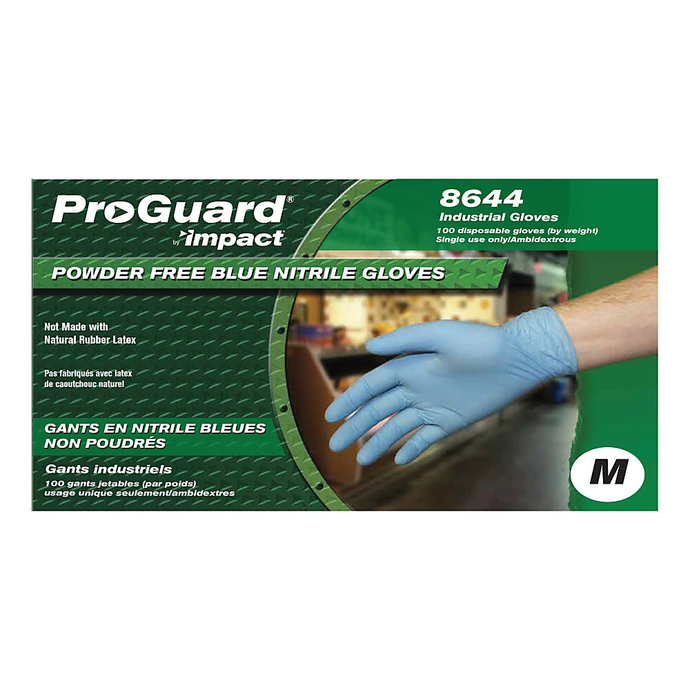 Pro-Guard Disposable Powder-Free General-Purpose Nitrile Gloves, Blue, Medium, 100/Box, 10 Boxes/Carton