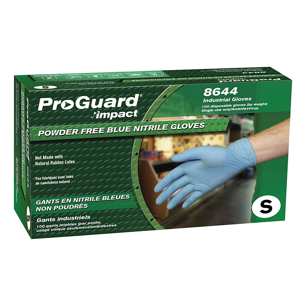 Pro-Guard Disposable Powder-Free General-Purpose Nitrile Gloves, Blue, Small, 100/Box, 10 Boxes/Carton