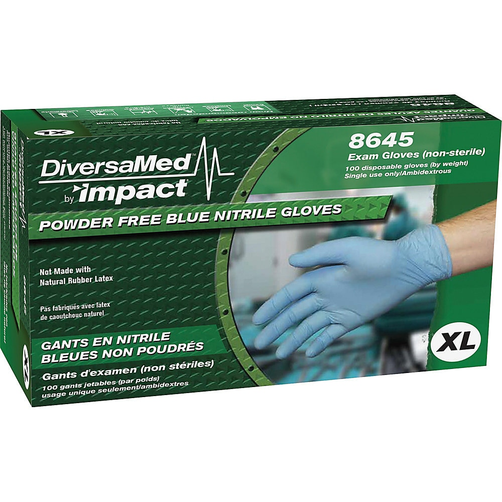 DiversaMed Disposable Powder-Free Exam Nitrile Gloves, Blue, X-Large, 100/Box, 10 Boxes/Carton