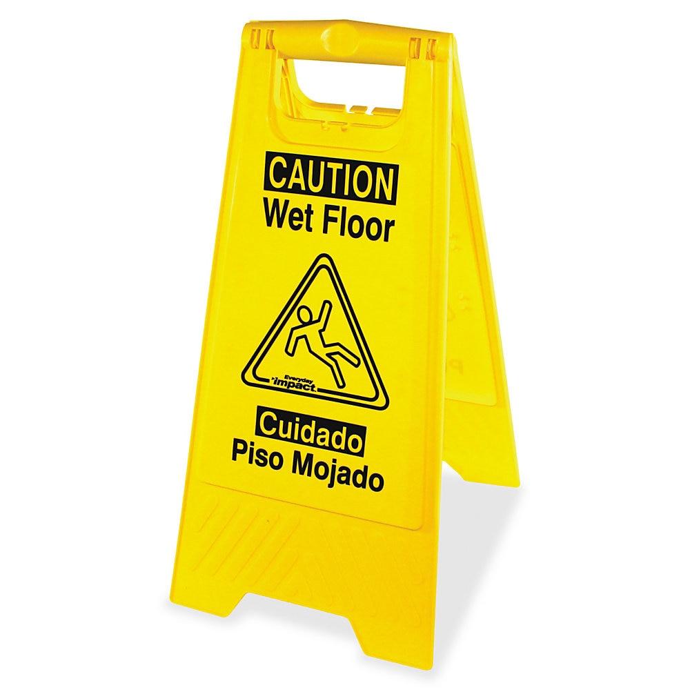 Bilingual Yellow Wet Floor Sign, 12.05 x 1.55 x 24.3, Yellow