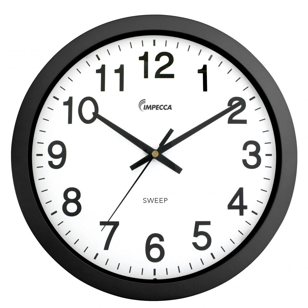 IMPECCA 14 Inch Sweep Movement Wall Clock, Black Frame