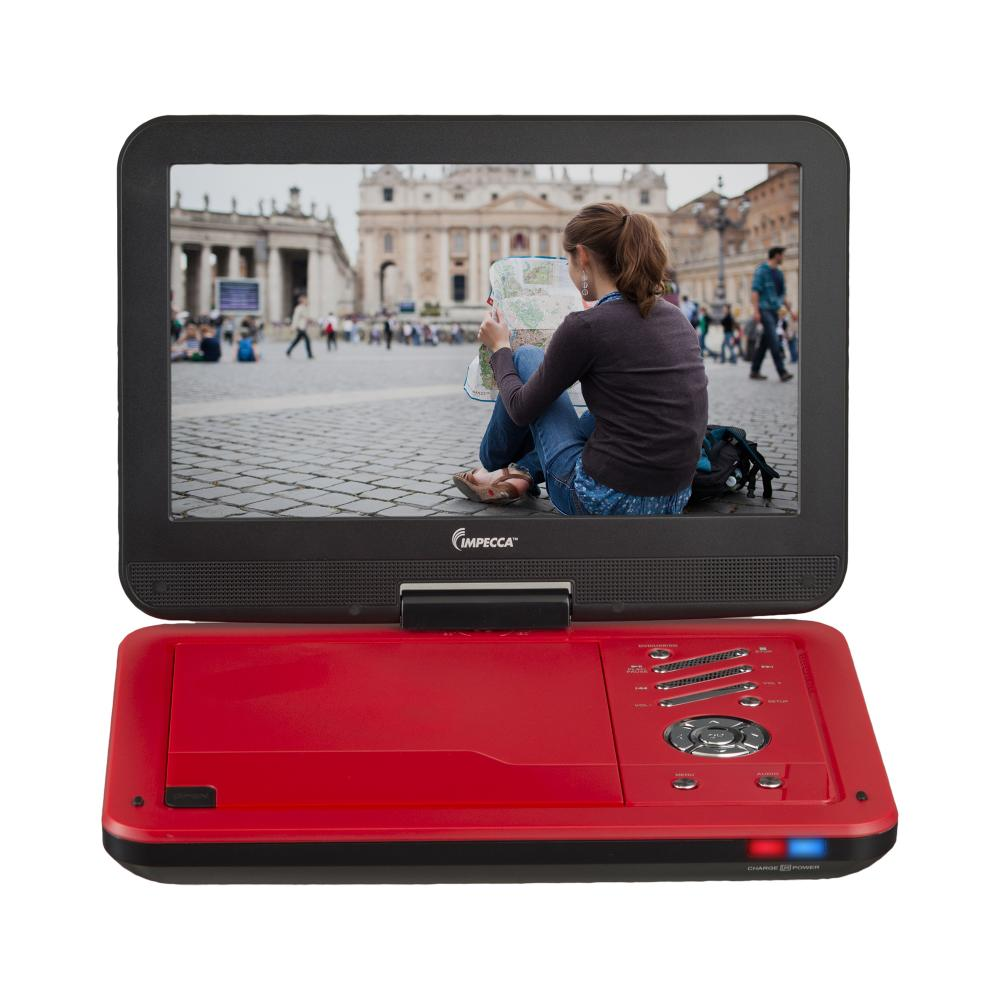 IMPECCA Portable DVD Player with 10.1 inch Swivel Screen - Scarlet Dynamite