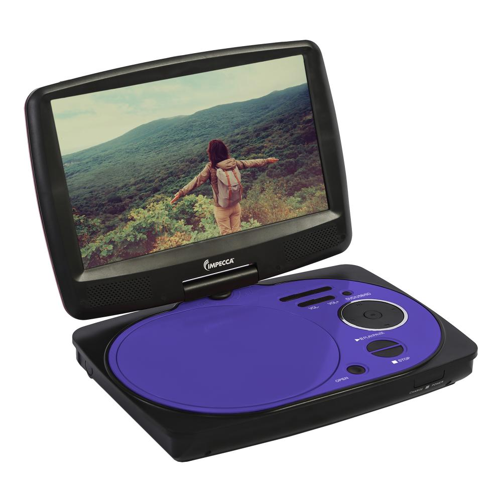 IMPECCA 9 Inch Swivel Portable DVD Player, Purple
