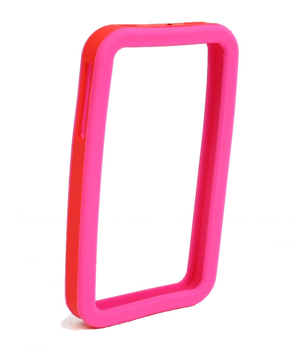 IMPECCA IPS226 Secure Grip Rubber Bumper Frame for iPhone 4GS= <em>Dual Color</em> - Pink/Red