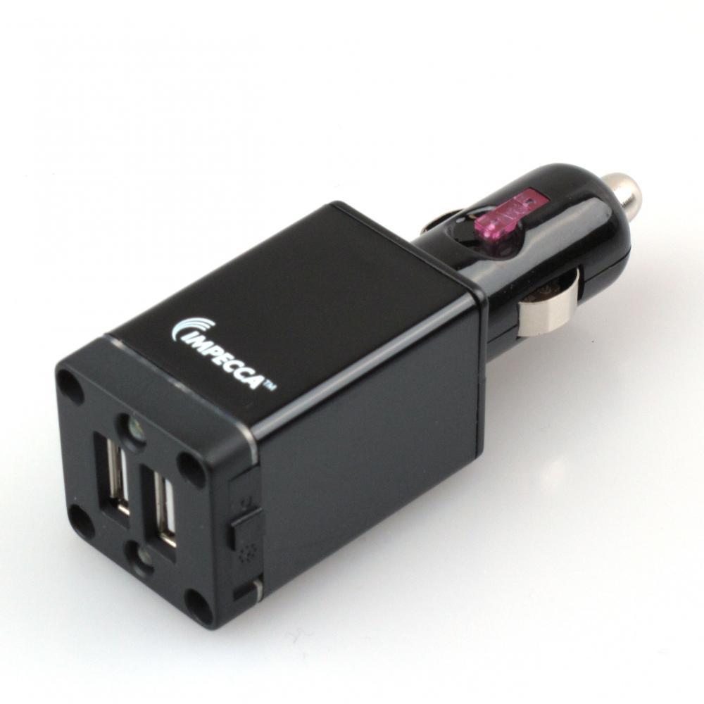 IMPECCA USB102L 10-Watt Dual USB Car Adapter with LED Flashlight - Black