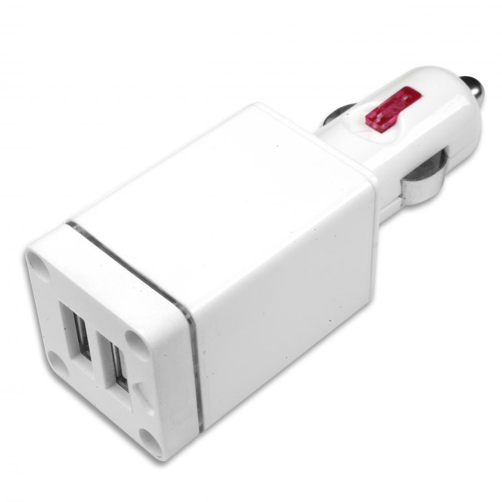 IMPECCA USB102L 10-Watt Dual USB Car Adapter with LED Flashlight - White