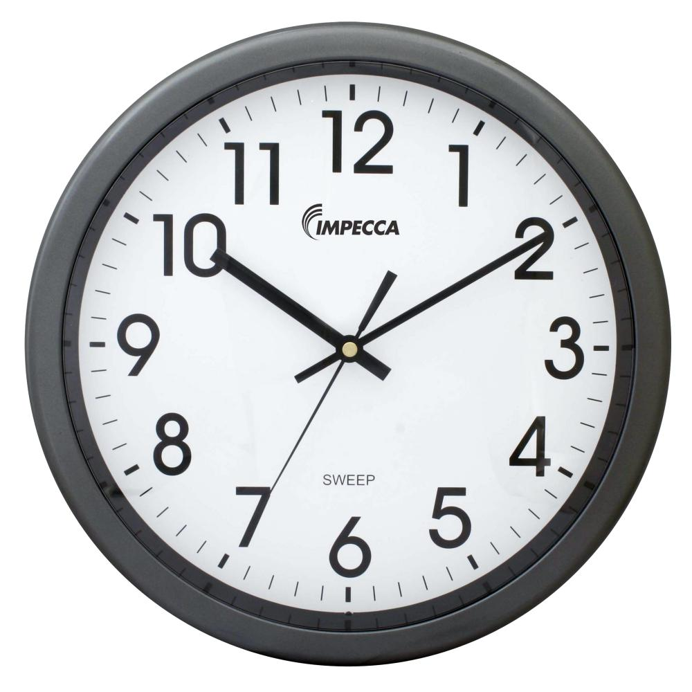 IMPECCA 12 Inch Quiet Movement Wall Clock - Grey
