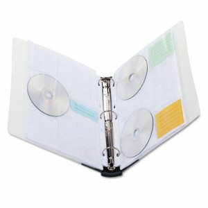CD/DVD Three-Ring Refillable Binder, Holds 90 Discs, Midnight Blue/Clear