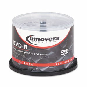 DVD-R Discs, Hub Printable, 4.7GB, 16x, Spindle, Matte White, 50/Pack