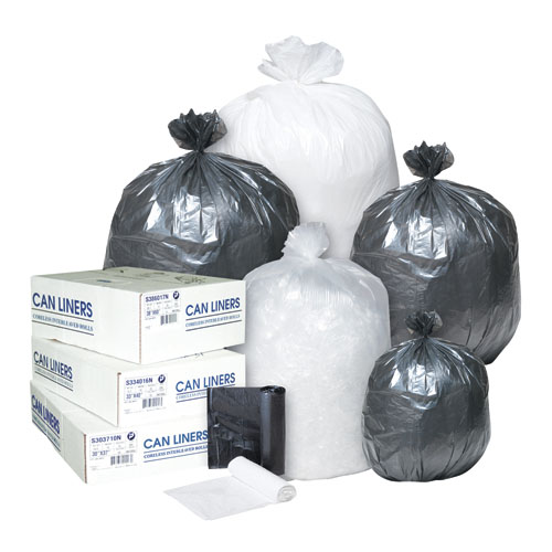 High-Density Can Liner, 36 x 60, 55-gal, 14 mic, Clear, 25/Roll, 8/CT