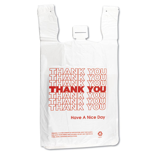 T-Shirt Thank You Bag, 12 x 7 x 13, 14 Microns, White, 500/Carton