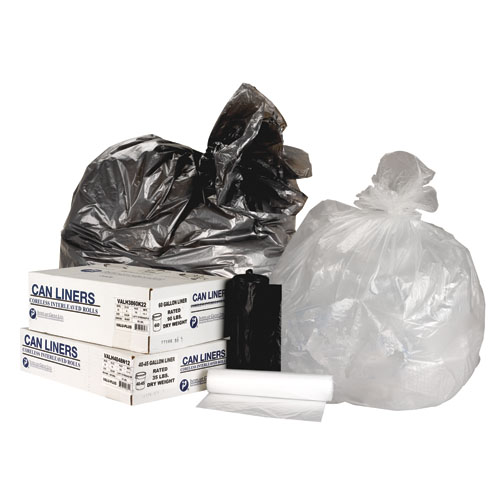 High-Density Can Liner, 38 x 58, 60gal, 16mic, Clear, 25/Roll, 8 Rolls/Carton