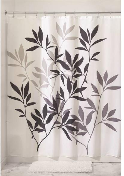 InterDesign 35620 Shower Curtain, 72 in W X 72 in L X 1/8 in T, Polyester, Neutral Black/Gray