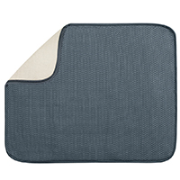 Inter-Design 40132 Large Drying Mat, 18 in L x 16 in W, Polyester/Microfiber Terry, Pewter/Ivory