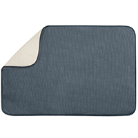 Inter-Design 40232 Extra Large Drying Mat, 24 in L x 18 in W, Polyester/Microfiber Terry, Pewter/Ivory
