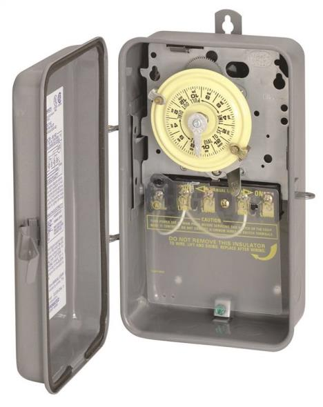 Intermatic T104R Electromechanical Timer, 208 - 277 V, 40 A, 1 - 23 hr, 1 - 12 Cycles per Day