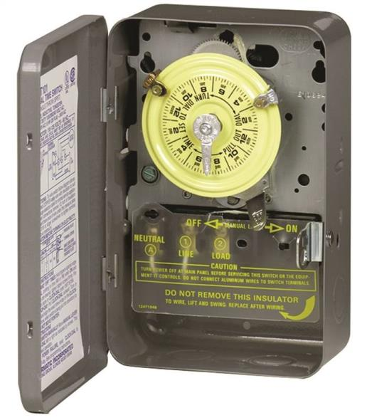 Intermatic T104 Electromechanical Timer, 208 - 277 V, 40 A, 1 - 23 hr, 1 - 12 Cycles per Day