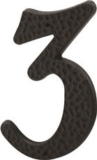 PRIME-LINE HOUSE NUMBER 3 WITH NAILS, BLACK PLASTIC, 3 IN., 2 PER PACK