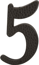 PRIME-LINE HOUSE NUMBER 5 WITH NAILS, BLACK PLASTIC, 3 IN., 2 PER PACK