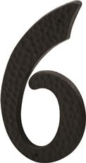 PRIME-LINE HOUSE NUMBER 6 WITH NAILS, BLACK PLASTIC, 3 IN., 2 PER PACK