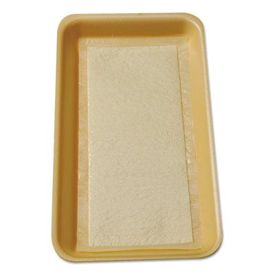Meat Tray Pads, 6w x 4 1/2d, White/Yellow, 2000/Carton