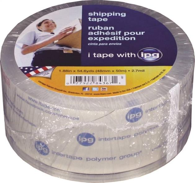 IPG 4367 Heavy Duty Shipping Tape, 1.88 in W x 54.6 yd L x 2.7 mil T, Clear