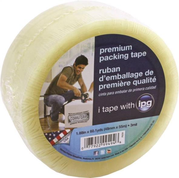 IPG PSC50 Packaging Tape, 1.88 in W x 60 yd L x 3 mil T, Clear