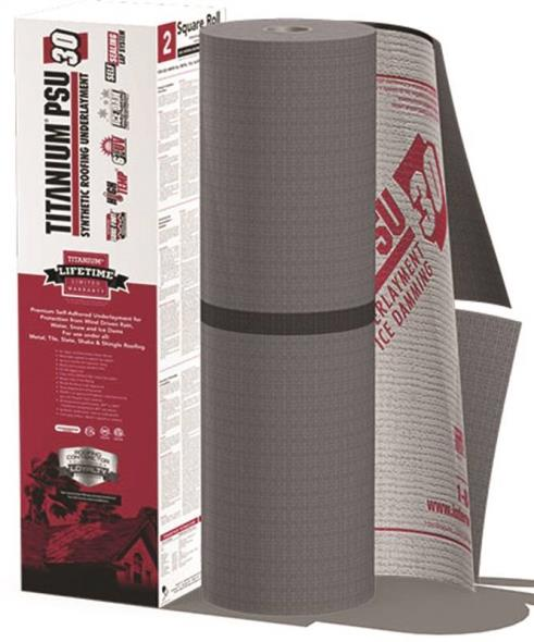Interwrap Corp Titanium Roof Underlayment Roll, 72 ft L x 36 in W x 45 mil T, Synthetic, Gray