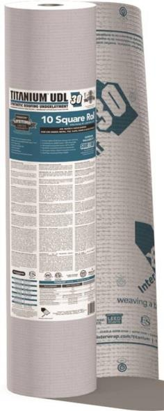 Interwrap Corp Titanium Pro-Grade Roof Underlayment Roll, 250 ft L x 48 in W x 25 mil T, Synthetic, Gray