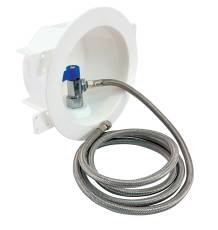 IPS WATER-TITE ROUND ICEMAKER VALVE OUTLET BOX WITH QUARTER TURN VALVE AND STAINLESS STEEL SUPPLY LINE, CPVC, LEAD FREE