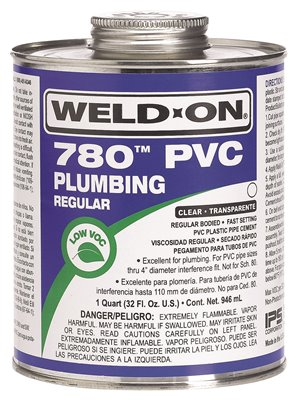 WELD ON� 780� REGULAR-BODIED PVC CEMENT, CLEAR, QUART